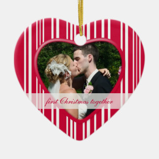 Peppermint Striped 1st Christmas together: Wedding Ceramic Ornament