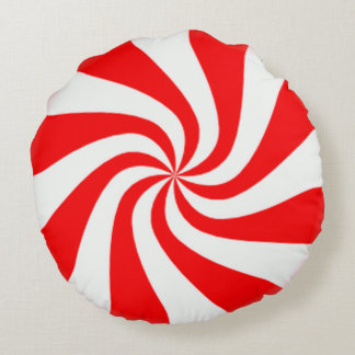Peppermint Swirls Round Pillow