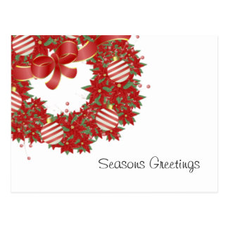 Peppermint Wreath Greetings Postcard
