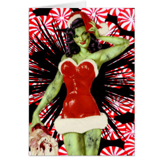Peppermint Zombie Christmas Card
