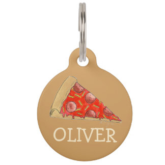 Pepperoni Cheese Pizza Slice Foodie Dog Pet Tag
