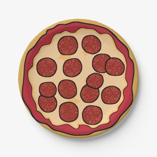 Pepperoni Pizza Paper Plate 7 Inch Paper Plate