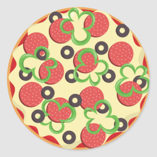Pepperoni Pizza Party Classic Round Sticker