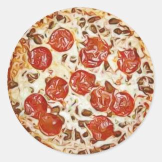 Pepperoni Pizza Refrigerator Magnet Classic Round Sticker