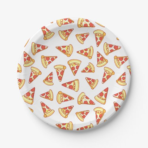 Pepperoni Pizza Slice Drawing Pattern Paper Plates 7 Inch ...