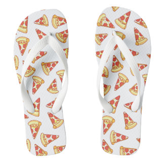 Pepperoni Pizza Slice Drawing Pattern Thongs Shoes Flip Flops