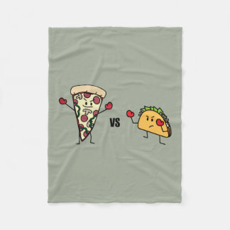 Pepperoni Pizza VS Taco: Mexican versus Italian Fleece Blanket