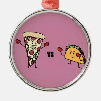 Pepperoni Pizza VS Taco: Mexican versus Italian Metal Ornament