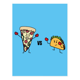 Pepperoni Pizza VS Taco: Mexican versus Italian Postcard