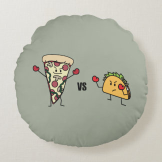 Pepperoni Pizza VS Taco: Mexican versus Italian Round Pillow