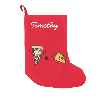 Pepperoni Pizza VS Taco: Mexican versus Italian Small Christmas Stocking