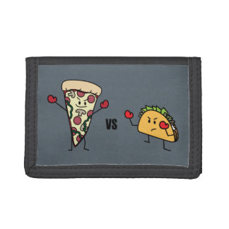 Pepperoni Pizza VS Taco: Mexican versus Italian Tri-fold Wallets