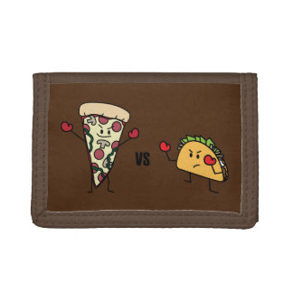 Pepperoni Pizza VS Taco: Mexican versus Italian Trifold Wallet