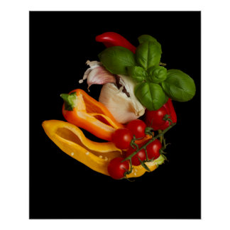 Peppers Basil Tomatoes Garlic Poster