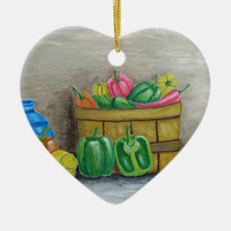peppers ceramic ornament