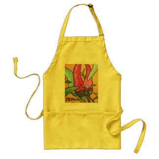 Peppers On Orange Background Standard Apron