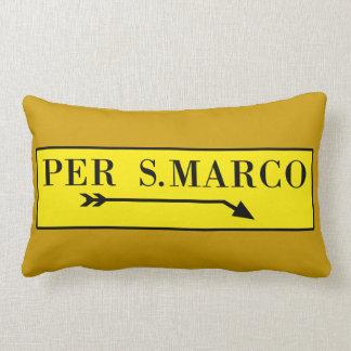 Per San Marco, Venice, Italian Street Sign Lumbar Pillow