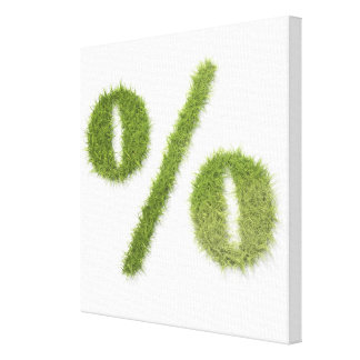 Percentage symbol made of grass gallery wrapped canvas