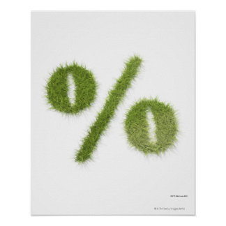 Percentage symbol made of grass posters