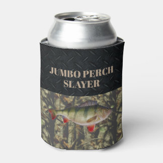 Perch Fishing Camo Ice FIshing Beer Holder Can Cooler