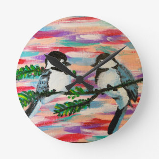 Perched Birds Round Clock