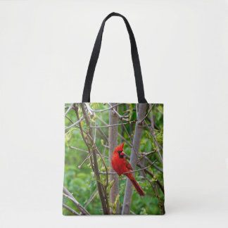Perched Male Northern Cardinal Tote Bag