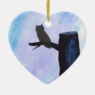 Perched Owl Ceramic Ornament