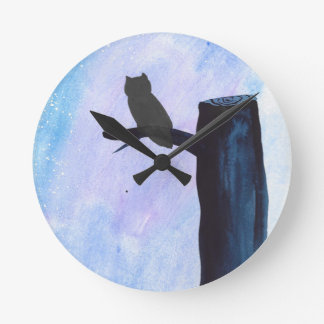 Perched Owl Round Clock
