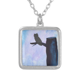 Perched Owl Silver Plated Necklace