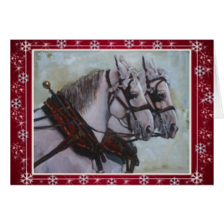 Percheron Draft Horse Christmas Card red
