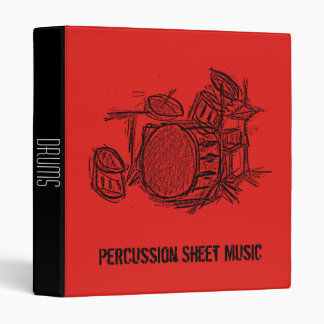 Percussion drums Sheet Music student folder 3 Ring Binders