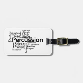 Percussion Word Cloud Black Text Luggage Tag