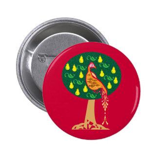Perdrix dans un chant de Noël de poirier Macaron Rond 5 Cm