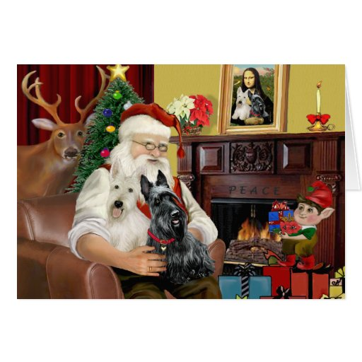 Père Noël à la maison - terriers écossais (deux) - Carte