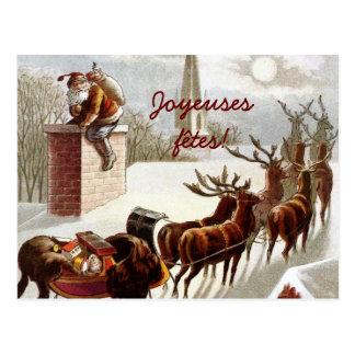 Père Noël avec traîneau et renne cartes postales Post Cards