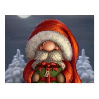 Père Noël avec un cadeau Cartes Postales