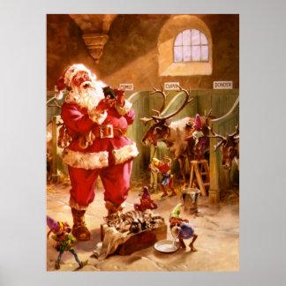 Père Noël dans la grange de renne Affiches