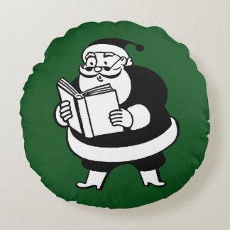Père Noël de lecture noir et blanc vintage sur le Coussin Rond
