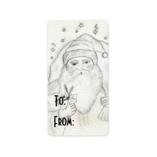 Père Noël démodé Étiquettes D'adresse
