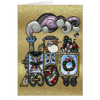 Père Noël démodé dans sa carte de voeux de train