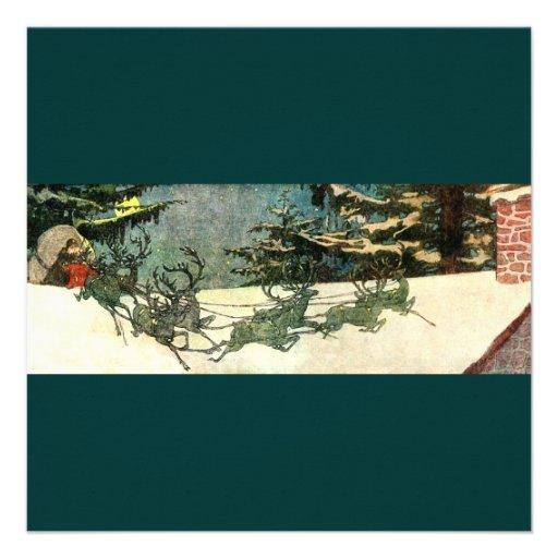 Père Noël démodé sur le dessus de toit Invitations Personnalisées