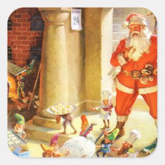 Père Noël dirigent des elfes faire des biscuits Sticker Carré