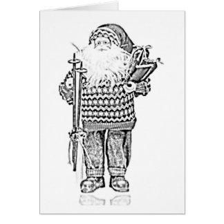 Père Noël élégant dans le dessin au crayon de Carte De Vœux