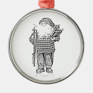 Père Noël élégant dans le dessin au crayon de Ornement Rond Argenté