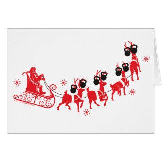 Père Noël et carte de Joyeux Noël de Kettlebell de