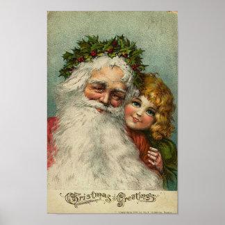 Père Noël et carte de voeux de Noël de petite fill Poster
