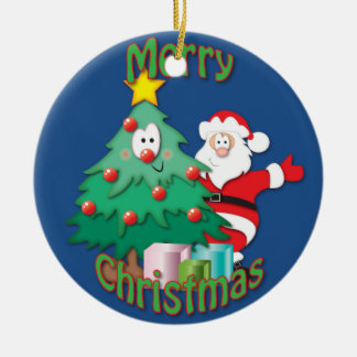 Père Noël et décoration d'arbre de Noël Ornement Rond En Céramique