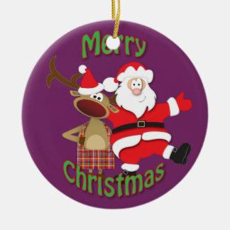 Père Noël et décoration d'arbre de Rudolph Ornement Rond En Céramique