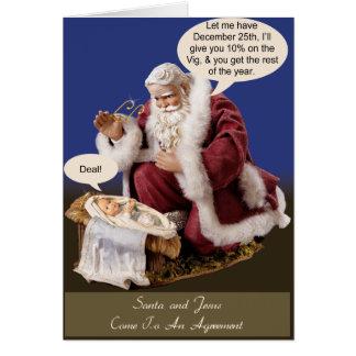 Père Noël et Jésus font une affaire Carte De Vœux