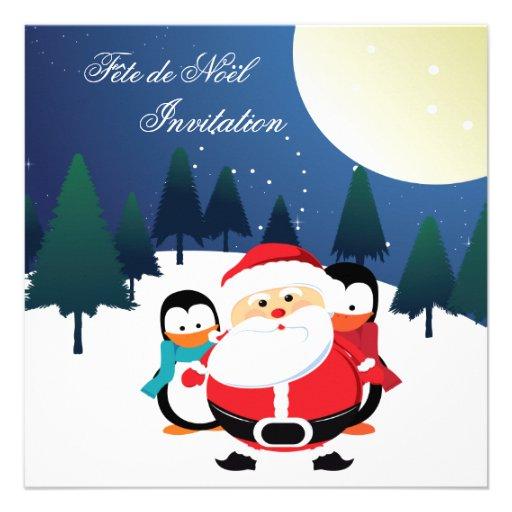 Père Noël et Manchot Fête de Noël invitation
